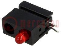 LED; in behuizing; rood; 3mm; Aant.diod:1; 20mA; 60°; 1,2-4mcd