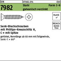 DIN 7982 Stahl 3,5 x 32 -C-H galv. verzinkt passiviert gal Zn K