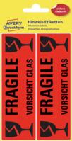 Hinweis-Etiketten Vorsicht Glas, leuchtrot, 119x38mm, 10 Etiketten