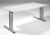Madrid Arbeitstisch, 1600x800x680-820 mm, Lichtgrau/Silber