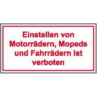 Einstellen von Motorrädern, Mopeds und.. Hinweisschild, Alu, 25x15 cm