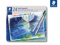 karat® aquarell 125 Hochwertiger, wasservermalbarer Farbstift Metalletui mit 24 sortierten Farben
