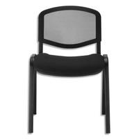 Chaise de conférence Iso Ergo Mesh dossier résille et assise tissu Noir, 4 pieds tube époxy Noir