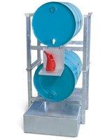 Fassregal AWS 2 für 2 Fässer à 200 l, Stahl-Auffangwanne, Kannenträger verzinkt, Artikelbild
