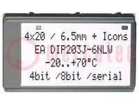 Kijelző: LCD; alfanumerikus; FSTN Positive; 20x4; fekete; LED