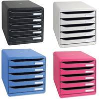 Exacompta Big Box Plus Drawer Set Plastic 5 Drawers each H43mm A4plus Light Grey Ref 309740D