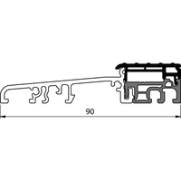 Produktbild zu Balkontürschwelle EIFEL TB-90, 6000 mm, silber eloxiert/grau