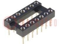 Ondersteunen: DIP; PIN:14; 7,62mm; verguld; Øpen:0,5mm; 1A; THT