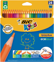 Buntstift BIC® KIDS ECOlutions EVOLUTION, 24-farbig sort, Kartonetui à 24 Stück