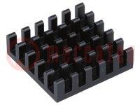 Radiator: geprägt; schwarz; L:21mm; W:21mm; H:6mm; Aluminium