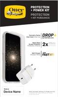 OtterBox Protection + Power Kit Apple iPhone 12 Pro Max (Symmetry Clear / Alpha Glass / EU USB-C Wall Charger 20W - Wit) - beschermhoesje + Gehard glazen screenpRedector + Ladeg...