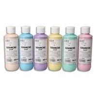 ART PLUS Lot de 6 flacons 250ml de gouache. Assortis pastel : Beige, Bleu, Violet, Jaune, Vert, Rose