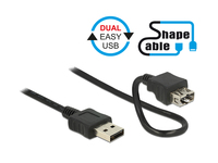 Anschlusskabel EASY USB 2.0, Typ A Stecker an Typ A Buchse, ShapeCable, schwarz, 0,5m, Delock® [83663]