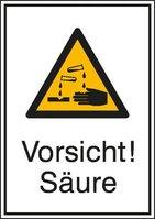 """Kombi-Schild """"Vorsicht! Säure"""", aus Aluminium, 262 x 371 mm, Abb. ähnlich"""