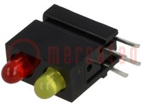 LED; házban; piros, sárga; 3mm; Dióda szám:2; 20mA; 60°