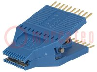 Messclip; SOIC; PIN:20; blau; vergoldet