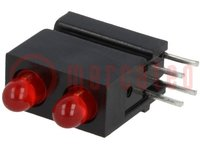 LED; im Gehäuse; rot; 3mm; Anz.Dioden:2; 20mA; Linse: diffus, rot