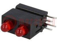 LED; házban; piros; 3mm; Dióda szám:2; 20mA; Lencse: szórt, piros