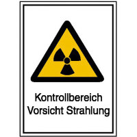 Strahlenschutz Kontrollbereich Vorsicht Strahlung Warn-Kombischild, 14,8x21 cm