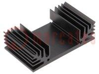 Hűtő: extrudált; TO3; fekete; L:37,5mm; W:65mm; H:18mm; 6K/W