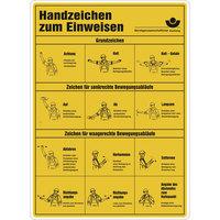 Handzeichen zum Einweisen Aushang , Alu langnachleuchtend, 29x40 cm