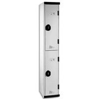 ACIAL Multicasiers Optimum en acier Corps et portes Gris, 2 portes + 2 tablettes L30 x H180 x P50 cm