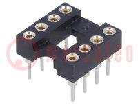 Zócalos: DIP; PIN:8; 7,62mm; dorado; poliéster; UL94V-0; 1A; THT
