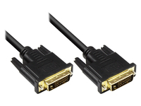 Anschlusskabel DVI-D 24+1 Stecker an Stecker, vergoldete Kontakte, schwarz, 1m, Good Connections®