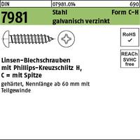 DIN 7981 Stahl 4,8 x 90 -C-H galv. verzinkt passiviert gal Zn S