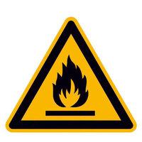 Warnung vor feuergefährlichen Stoffen Warnschild, Alu geprägt, Größe 100 mm DIN EN ISO 7010 W021 ASR A1.3 W021