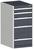 Produktbild - cubio Schubladenschrank bestückt mit 5 Schubladen BxTxH: 525x525x1000mm RAL 7035/7016