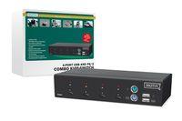 Combo-KVM Switch 1User, 4 PCs (je PS/2 od. USB), freie Verbindungswahl, Desktop, Hot-Swap Funktion, inkl. 2 Kabelsätze, 1,8 m Digitus® [DC-12201-1]