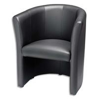 Chauffeuse Club finition en simili cuir Noire, structure en bois - Dimensions : L76 x H64 x P78 cm
