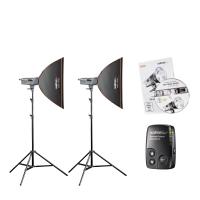 Walimex Excellence Studioset Artist 150 Set für Fotostudioausstattung Schwarz, Silber, Weiß