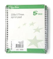 5 Star Eco Spiral Pad 228x177mm [Pack 10]