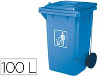 Papelera contenedor q-connect plastico con tapadera 100l color azul 750x470x370 mm con ruedas