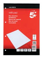 5 Star Office Refill Pad FSC Feint Headbound Ruled with Margin 4-Hole Punched 80 Sheet A4 [Pack 10]