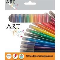 ART PLUS Etui carton de 12 feutres triangulaires pointe moyenne assortis