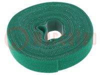Bracelet velcro; L:4m; W:16mm; vert; Emballage: rouleau
