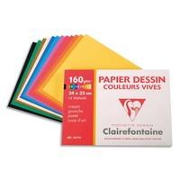 CLAIREFONTAINE Pochette de 12 feuilles papier dessin couleur teintes vives 160g 24x32 Ref-96770
