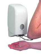 AQUARIUS* Spender für Handreiniger mit Armhebel - Kassette / 1 Ltr, wahlweise mit Druckknopf oder abschließbar