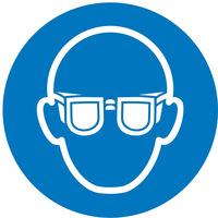 Schild oogbescherming 100 mm PVC-Folie