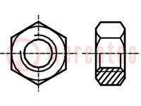 Moer; zeskantig; M1,6; roestvrij staal A2; Spoed:0,35; 3,2mm