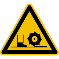 Warnung vor Fräswelle Warnschild auf Bogen, Folienetik, gestanzt, 5cm DIN 4844-2 D-W022