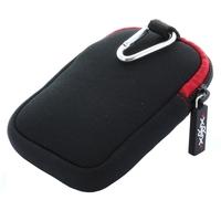 XiRRiX Kamera / Kompaktkamera Tasche aus Neopren - Außen 120 x 90 x 35 mm (S) - Schwarz / Rot