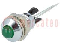 Controlelampje: LED; bol; Op: Ø8mm; voor printplaten; messing