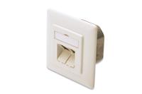 DIGITUS CAT 6a Class EA network outlet. shielded 2x RJ45. LSA. pure white. Class EA. Flush Mount