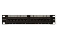 DIGITUS CAT 5e. Class D Patch Panel. unshielded 12-port RJ45. 8P8C. LSA. 1U. 254mm(10')Rack Mount