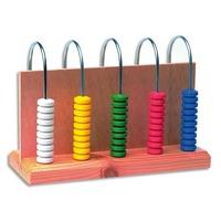 Abaque à 5 colonnes 10 pièces chacune couleur assortie pour compréhension des nombres