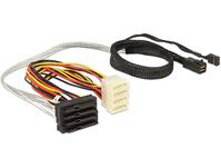 SAS Kabel HD x 4 SFF 8643 Stecker auf 4 x SAS 29 Pin SFF 8482 Buchse, 0,5m, Delock® [83390]
